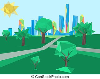 polygonal cityscape park - Vector illustration of beautiful ...