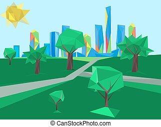 polygonal, cityscape, park