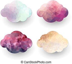 Polygonal cloud icons