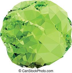 polygonal, col verde, ilustración