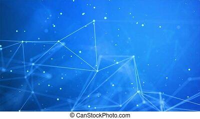 polygonal, connecté, boucle, résumé, fond, lignes, dots.
