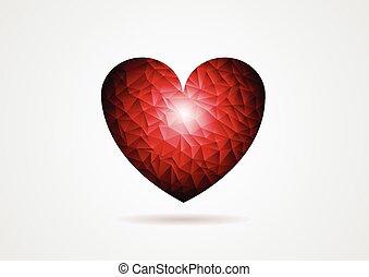 polygonal, coração vermelho, forma