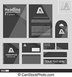 polygonal, corporativo, grigio, identità