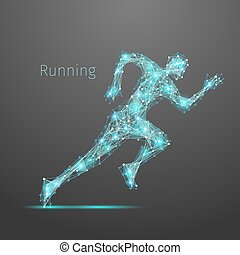 polygonal, correndo, uomo