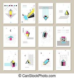 polygonal, cristaux, bannières, collection, mini