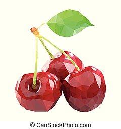 polygonal, cseresznye, alatt, vektor, alacsony, poly, mód, cseresznye