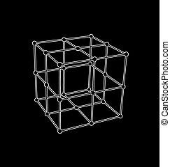 polygonal, cubo, wireframe, maglia