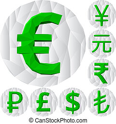 polygonal currency signs.