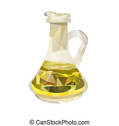 polygonal decanter with olive oil