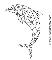 polygonal, delfin, silhouette.