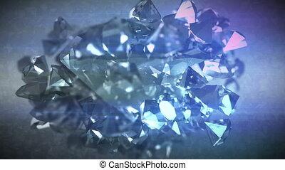 """Polygonal diamonds spinning around"" - ""Striking 3d..."