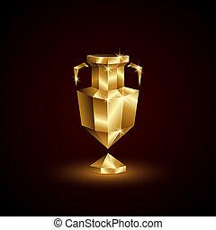 polygonal, doré, noir, cup., euro, bas, poly, résumé, 3d, trophée, football football, arrière-plan.