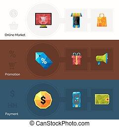 polygonal, e-handel, banieren