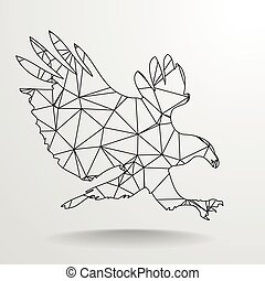 Polygonal Eagle Outline - detailed illustration of a ...