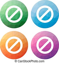 polygonal, ensemble, icônes, moderne, -, isolé, boutons, bas, interdiction, 4