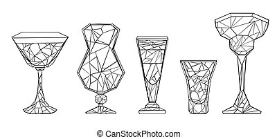 polygonal, ensemble, verre vin