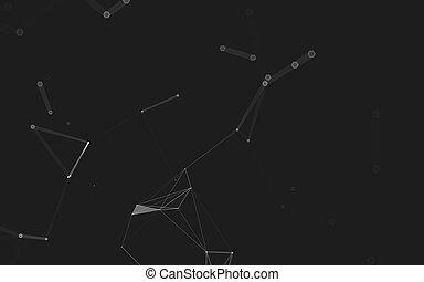 polygonal, espace, résumé, poly, sombre, rendre, fond, bas, 3d