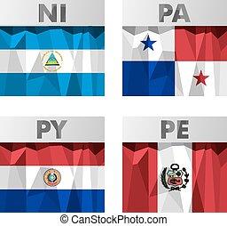 polygonal, estilo, bandeiras