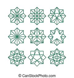 polygonal, estrela, esboço, cor, collection., abstratos, octogonal, triangular, formas, stars., vetorial, verde, geomã©´ricas, arte, linha, ícone, contorno, set.