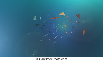 Polygonal explosion on blue abstract background