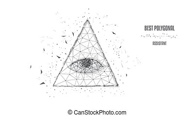 Polygonal eye in the pyramid of a one-dollar bill. Dollar USA, pyramid, Eye of Providence. Macro. Black-and-white illustration. Low poly. Concept of business.