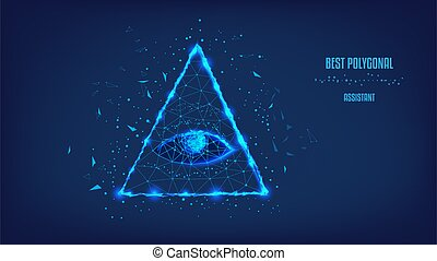 Polygonal eye in the pyramid of a one-dollar bill. Dollar USA, pyramid, Eye of Providence. Macro. Background of beautiful dark blue night sky. Low poly. Concept of business.