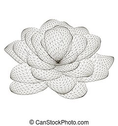 Polygonal flower wireframe Isolated on white background. View isometric. 3D. Vector illustration