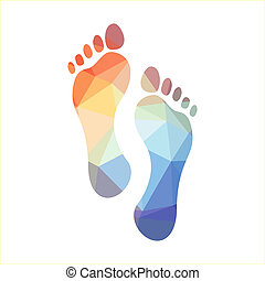 Polygonal Footprints - Multicolored polygonal footprints,...