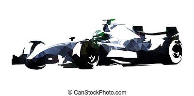 Polygonal formula racing car, abstract vector illustration