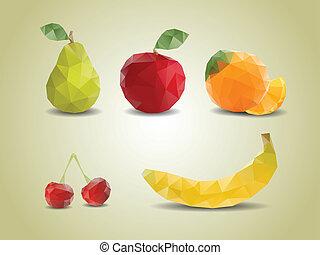 Polygonal fruit illustrations