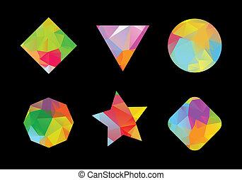 polygonal, géométrique, ensemble, coloré, shapes.