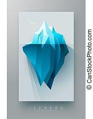polygonal, góra lodowa, projektować, chorągiew