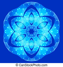 Polygonal geometric constellation in form flower with six petals on blue background
