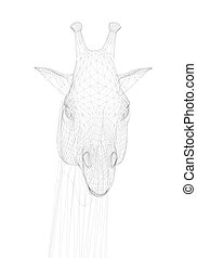 Polygonal giraffe head. Front view. Head of a giraffe from black lines on a white background. Vector illustration