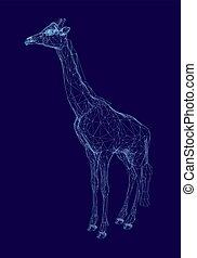 Polygonal giraffe made from blue lines on a dark background. 3D giraffe wireframe. Vector illustration