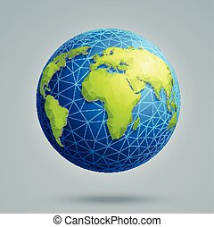 polygonal, globe global, connections., 3d