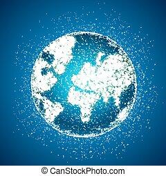 Polygonal globe on blue background