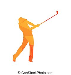 Polygonal golf player, abstract orange isolated vector golfer silhouette
