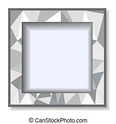 Polygonal gray background with photo frame