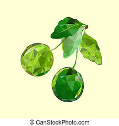 polygonal green cherries
