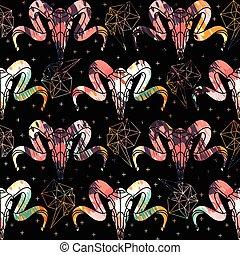 polygonal, halloween., patrón, ornament., resumen, aurora, seamless, lines., cráneo, zigzag