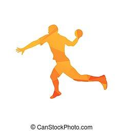 Polygonal handball player, abstract orange isolated vector silhouette