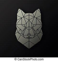 Polygonal head of a wolf.