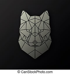 Polygonal head of a wolf.