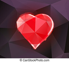 Polygonal heart on a dark purple background