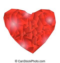Polygonal heart, Vector Illustration on white background