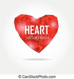 Polygonal heart, Vector Illustration on white background