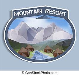 polygonal, hegy, böllér, -, erőforrás