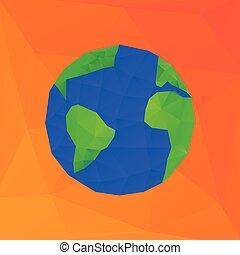 polygonal, -, illustration, planet, vektor, mull