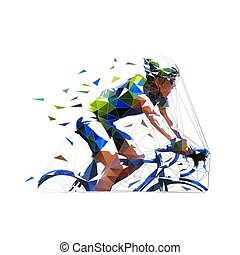 polygonal, ilustração, ciclismo, baixo, estrada, vetorial, ciclista, isolado